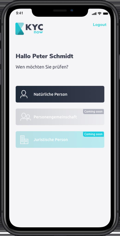 Screennshot der KYC-App